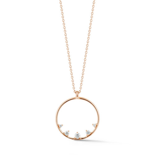14K pink gold and diamond circle necklace