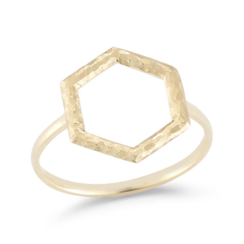 14K yellow gold hammered geometric shaped ring