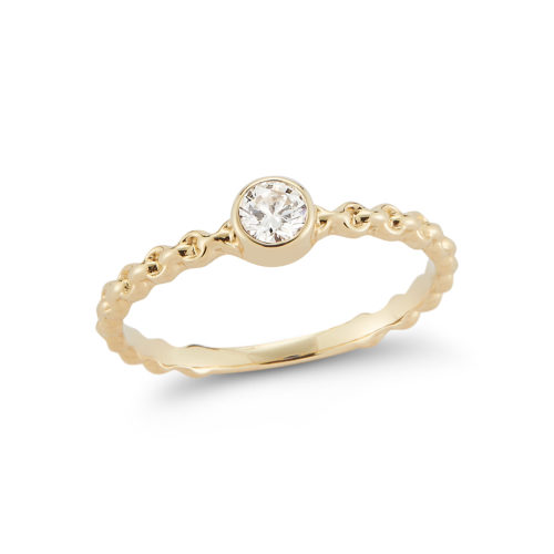 diamond rope style 14k yellow gold ring