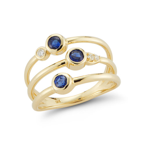 diamond and sapphire stacking 14k yellow gold ring