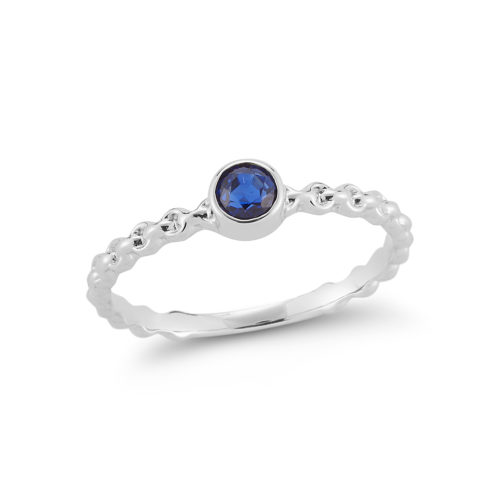 sapphire rope style 14k white gold ring