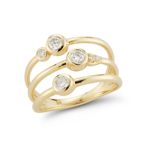 diamond stacking 14k yellow gold ring
