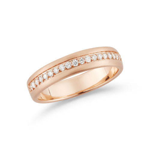 Diamond and 14K rose gold brushed wedding band