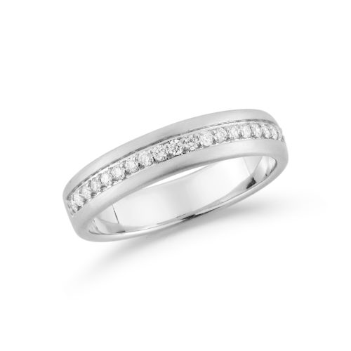 Diamond and 14K white gold brushed wedding band