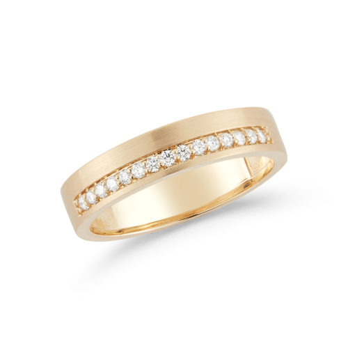 Diamond and 14K yellow gold brushed wedding band